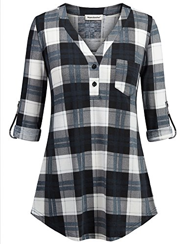 Nandashe Tartan Plaid Shirt, Petite Girls 3/4 Sleeve Roll up Boyfriend Style Knitted Lightweight Soft Gingham Multicolor Checked Tunic Blouse Blue White ()