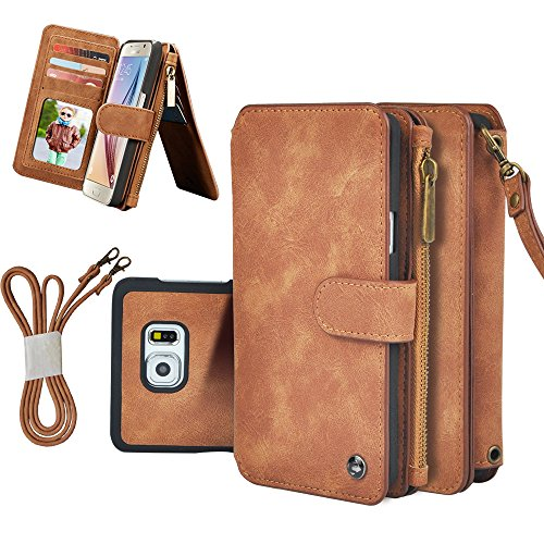 Galaxy Note 5 Case, Detachable Leather Sport Wallet Card Slot Zipper Wallet Wrist Shoulder bag Pouch Kickstand for Samsung Galaxy Note 5 (Brown)