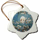 3dRose A Dance Around the Moon Charles Altamont Doyle Fantasy Fairy Painting - Snowflake Ornament, Porcelain, 3-inch (orn_126246_1)