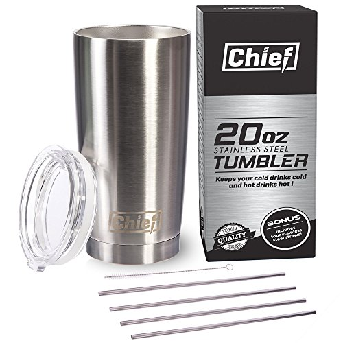 20oz Stainless Steel Tumbler with 4 Straws Bundle With Premium Quality 18/8 Stainless Steel Insulated Tumbler Cup + 4 Stainless Steel Straws + Straw Cleaner