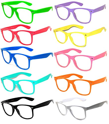 - Wholesale 10 Pack Classic Vintage Clear Lens Sunglasses Colored Frame