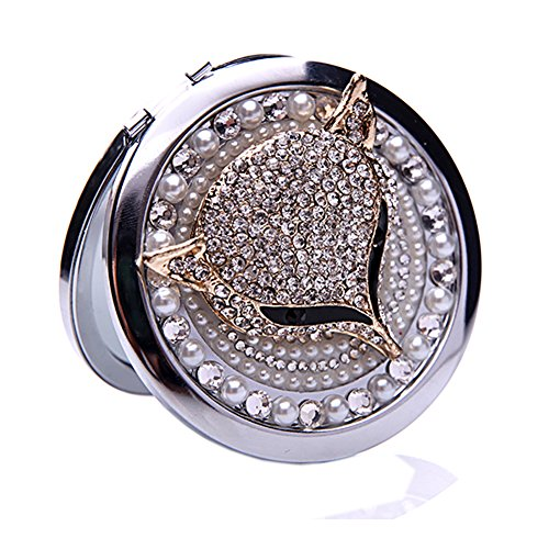 Generic 3D Handmade Mini Compact Mirror for Women Make Up Mirror Fox Addict Decoration Silver Color for (Wedding Gifts)
