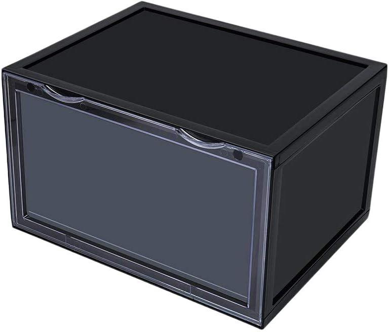 K.T.Z Magnetic Side Open Transparent Plastic Storage Shoe Box Stackable Foldable Storage Shoe Box Sneaker Storage Box Clear Plastic Shoe Boxes Size:14.2X11X8.7 Inch (D Style Black, 1 PCS)