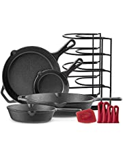 """Cast Iron Skillet Set - 6""""+8""""+10""""+12"""" - Pre-Seasoned Oven Safe Cookware - Bonus: 4-Heat-Resistant Silicone Holders + Pan Organizer + Scraper - Indoor and Outdoor Use - Grill, Stovetop, Induction Safe"""
