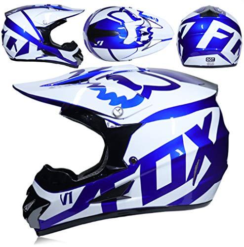 (Men and Women Couple Full face Motorcycle Bike Helmet ATV Karting Helmet Cross Country Sand Off-Road Racing Helmet (mask Gloves Goggles),S)