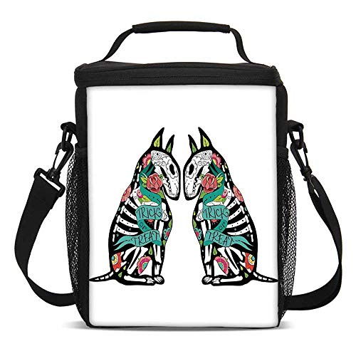 Halloween Decorations Fashionable Lunch Bag,Skeleton Demon Figures Flowers and Trick or Treat Quote Ethnic Design for Travel Picnic,One size]()