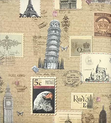 Glowvia Travel Wallpaper Tour Ticker Design Wallpaper For Home Office Hotel Cafe Size 57 Sqft Amazon In Home Kitchen