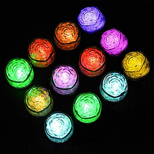 (12 Pack) Multi Color Led Light Up Ice Cubes | Party Wedding Birthday -