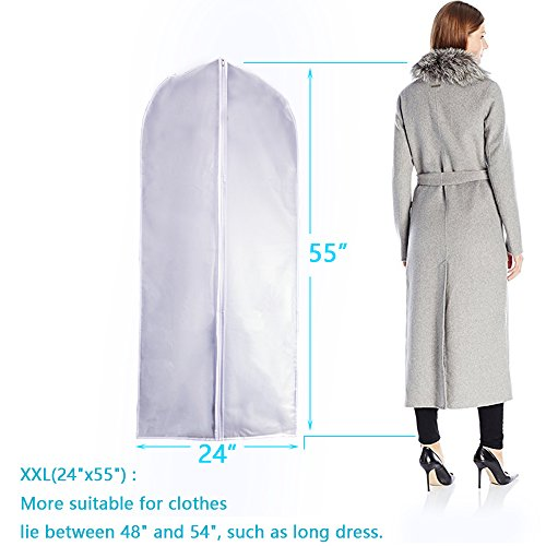 Garment Bag Clear Plastic Breathable Moth Proof Garment Bags Cover for Long Winter Coats Wedding Dress Suit Dance Clothes Closet Pack of 6 ( 24'' X 55'' ) by EANXO (Image #1)