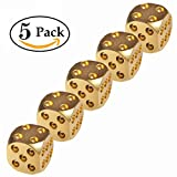 Cevinee™ Set of 5 Classic Brass Dices Set, Solid Polished D6 Cube Dies, Portable Copper Poker Dominoes Tables Board Game Drinking Game Dice, Xmas Gift Metal Dice