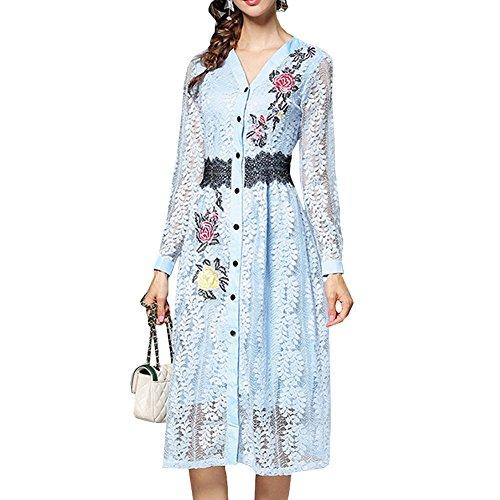Linie Cocktailkleid Langarm E Kleid girl Kleider Hohl Midi Damen A YL51618 Partykleid Blau Spitze Blumen UzXWaOzqg