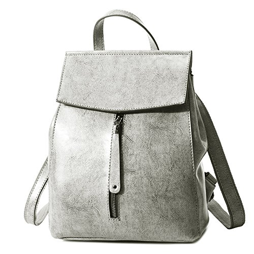 (jvp1091-b) Backpack Cow Leather Women Backpack Black Brown Gray Red Rose High Capacity Rear Shoulder Bag 3-way Single Waterproof Ring Girls Traveling Gray