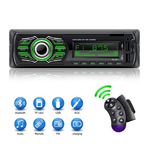 🥇 X-REAKO Radio Coche Autoradio Bluetooth Apoyo de Reproductor MP3 Llamadas Manos Libres Radio FM Soporte Control Remoto del Volante