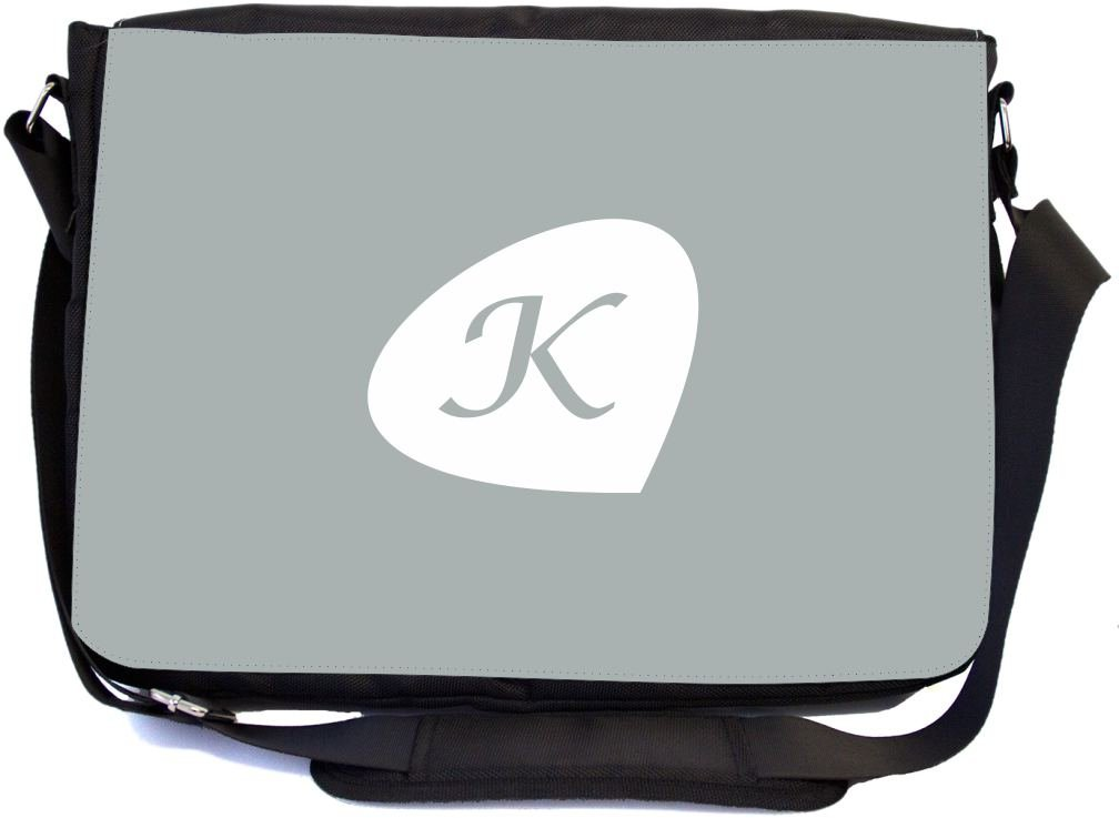 Rikki Knight Letter ''K'' Initials Paloma Grey Color Petal Leaves Design Premium Messenger Bag - School Bag - Laptop Bag - with padded insert for School or Work - With Matching Pencil Case