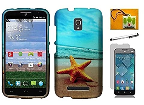 Alcatel One Touch Pop Mega LTE A995G / A995L, LF 4 in 1 Bundle, Starfish Designer Hard Cover Case, Stylus Pen, Screen Protector & Wiper For Alcatel One Touch Pop Mega LTE A995L / A995L (Designer Starfish (Alcatel A995g Wallet Case)