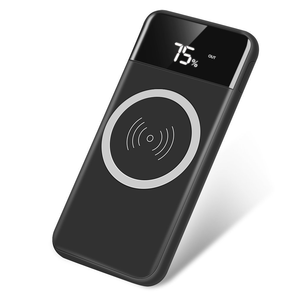 Qi Wireless Portable Charger Hokonui 10000mah Charging Watt Led Driver Using A Cell Phone Homemade Circuit Power Bank With Digital Display External Battery Pack 2 In 1 For Iphone