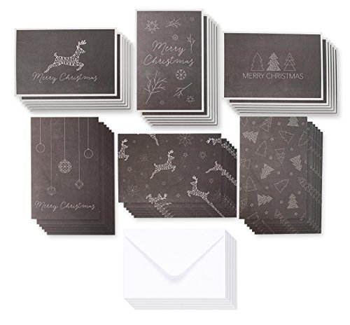 Christmas Cards Custom Made - 36-Pack Merry Christmas Greeting Cards Bulk Box Set - Winter Holiday Xmas Greeting Cards with Chalkboard Designs, Envelopes Included, 4 x 6 Inches