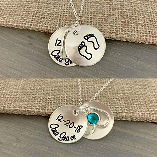 (Baby Feet Locket - Sterling Silver New Family Addition Swarovski Birthstone Heart - Hand Stamped Jewelry - Personalized Jewelry)