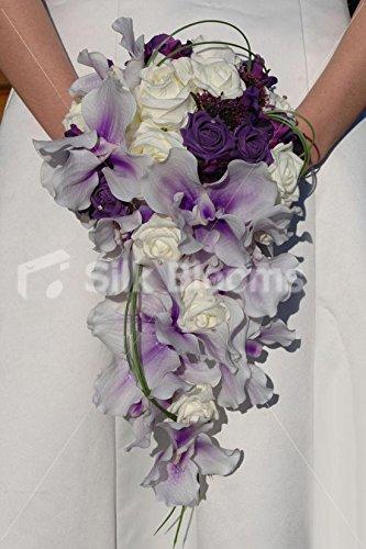 Amazon Com Purple Ivory Orchid Rose Cascading Bridal Wedding