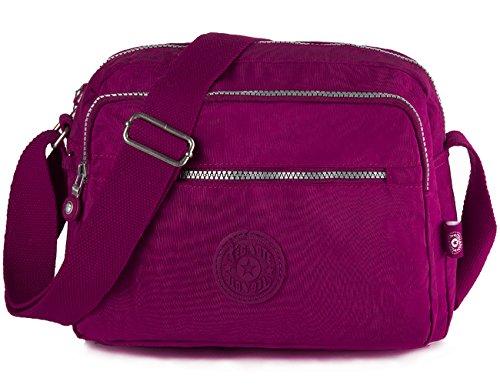 Oakarbo Crossbody Bag Multi-Pocket Nylon Travel Shoulder Bag(939 Violet red) by Oakarbo
