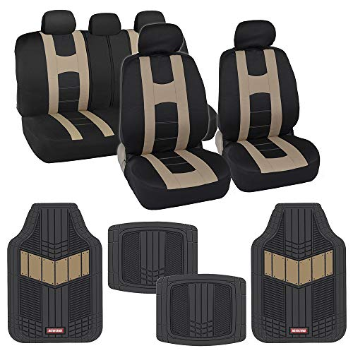 (BDK AutoSport Full Set Combo All Protective Seat Covers (2 Front 1 Bench) with Heavy-Duty All-Weather Rubber Floor Mats (4 Mats) for Car Auto - Sedan Truck SUV Minivan)