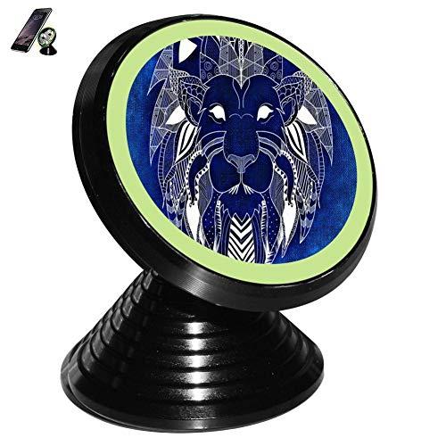 Portraits Primitive - Lion Primitive Portrait Totem Magnetic Vehicle Mounted Mobile Phone Bracket Holder 360 with Noctilucent Function