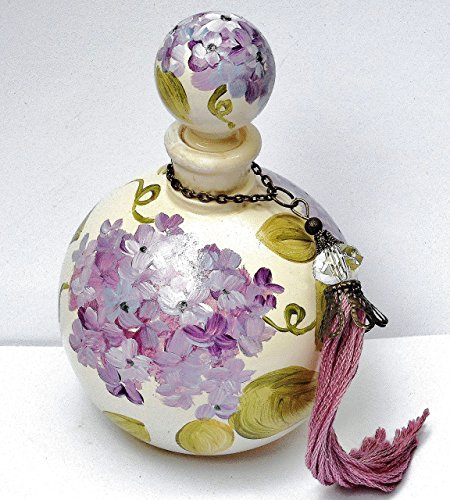 Painted Lavender Hydrangea Vintage Style Round Glass Perfume Bottle with Stopper Cap and Swarovski Crystal (Vine Bead Cap)