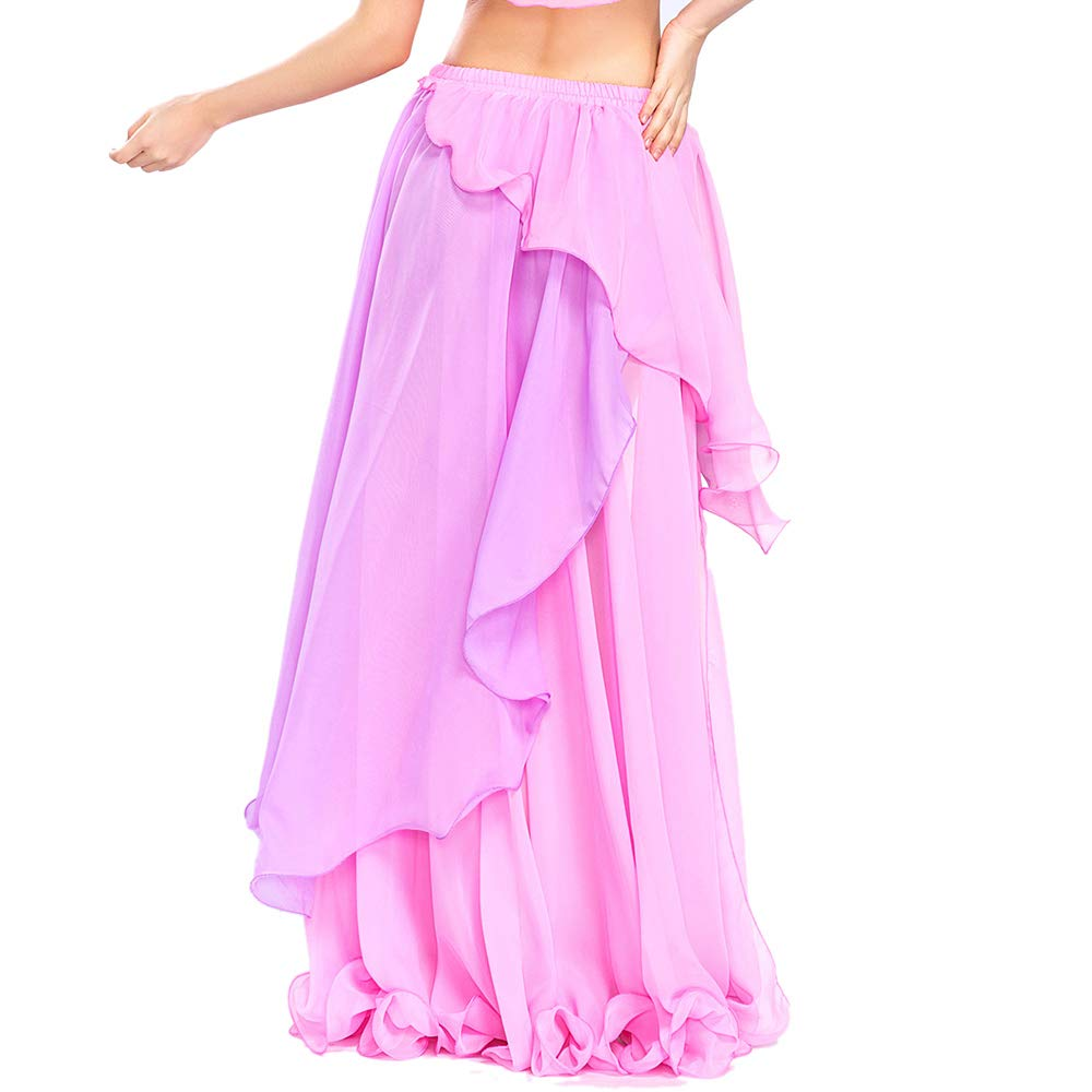 Pink Purple 3 Colors Black One Size ROYAL SMEELA Chiffon Fairy Belly Dance Skirt Belly Dancing Costume