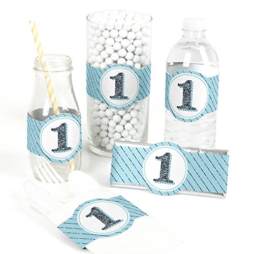 Fun to be One - 1st Birthday Boy - DIY Party Supplies - First Birthday Party DIY Wrapper Favors & Decorations - Set of 15