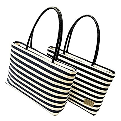 66a4f407c803 Amazon.com: WEIYI Naval Style Striped Canvas Shoulder Bag Shopping ...