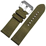MSTRE NL04 24mm Canvas Band With Thick Nylon Bracelet leather lining For Panerai Watches For Men (24mm, Green)