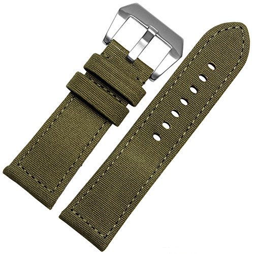 MSTRE NL04 24mm Canvas Band With Thick Nylon Bracelet leather lining For Panerai Watches For Men (24mm, Green) by MSTRE