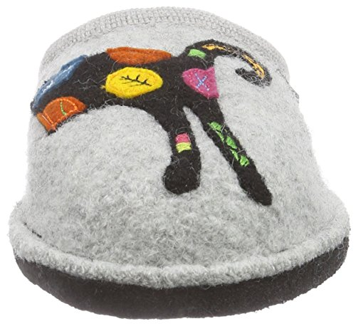Haflinger Sassy - pantuflas de lana mujer gris - Grau (84 Steingraumeliert)