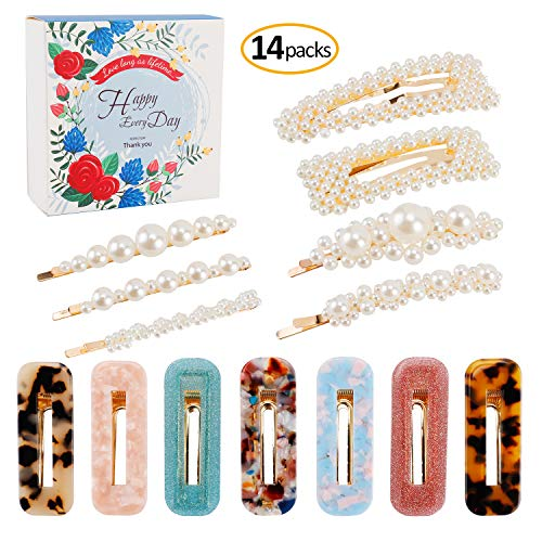 Pearls Hair Clips Acrylic Resin Hair Barrettes for Women Girls, Fashion Bling Pearl Hairpins Acetic Acid Hollow Geometric Alligator Clips for Ladies Hair Accessories 14 - Alligator Studded