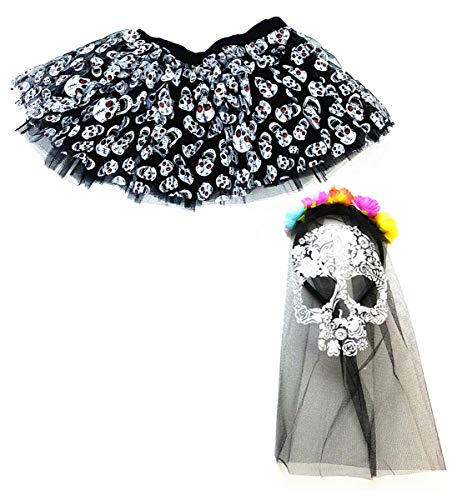 Mozlly Value Pack Womens Black Stretchy Pull On Skulls Tutu and Day of The Dead Skull Veil Mask Halloween Costume Scary Wedding Outfit Horror Dress Up Masquerade Colorful Flowers (2 Items) -
