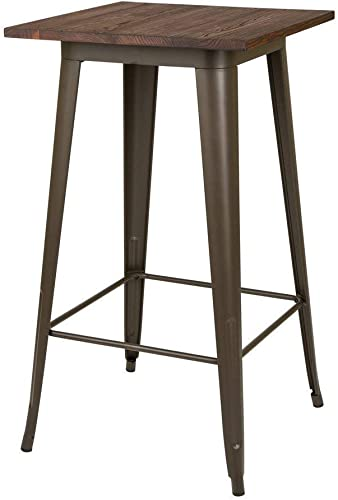 Glitzhome Modern Style Square High Heavy-Duty Metal Bar Table