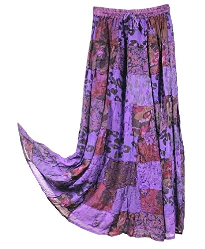 OMA Women's Hippie Bohemian Patchwork Long Skirt Vintage Style Ethnic Wear - Premium Quality Brand (Purple)