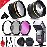 Premium 58mm Accessory Kit for Canon EOS REBEL T6i T6S T5i T5 T4i T3i T3 T2i SL1 EOS 70D 60D 5D 750D 700D 650D 600D 550D 1200D 1100D 100D EOS M3 M2 T1i XTi XT SL1 XSi 7D Mark II DSLR Cameras - Includes: 58MM High Definition Wide Angle Lens with Macro Closeup feature + 58mm High Definition 2X Telephoto Lens + Professional Speedlight Flash + 58mm 3 Piece HD Filter Set + + Ring Adapters to from 46-58mm + 58mm Tulip shaped Hard Lens Hood + 58mm Soft Rubber Lens Hood + 58mm Lens Cap + Lens Cap Holder + Universal Memory Card Reader + Mini Table Tripod + Memory Case Holder + Screen Protectors + Mini Blower + Cleaning Pen + Deluxe Cleaning Kit + Ultra Fine HeroFiber Cleaning Cloth