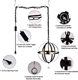 HMVPL Plug in Industrial 3 Light Globe Pendant with 16.4 Ft Hanging Cord and Toggle Switch, Black Finish Vintage Metal Chandelier Ceiling Light Fixture for Living Room Kitchen Island Hallway