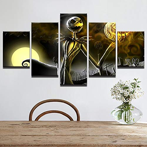 kkxdp Framed Pictures Canvas Wall Art Frame Home Decor Living Room Halloween Poster 5 Pieces Hd Printed Nightmare Before Christmas Painting-B]()