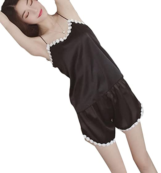 705e6debab0 Winwinus Womens Ice Silk Cami Blouse Shirt House Sexy Shorts Loose Pajama  Set at Amazon Women s Clothing store