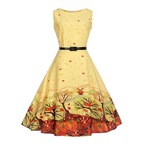 Hepburn Vestito Fami waist print Giallo da Familizo Womens donna wind sleeveless dress Donna 5Yw4pqxH