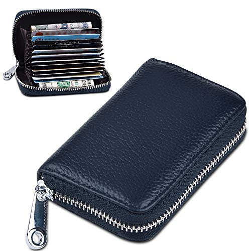- Credit Card Holder for Women Men, RBEIK RFID Blocking Accordion Style ID Business Name Card Wallet Case, Card Slots Zipper Travel Wallet Purse Pocket for Ladies Girls Boys (A2#Navy-Blue)