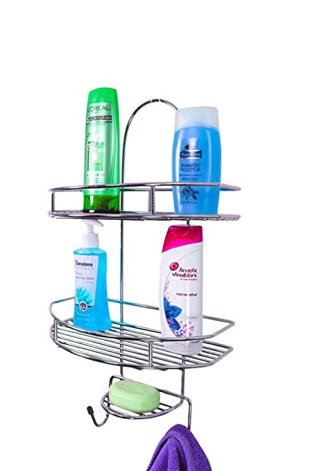 Primax Stainless Steel 5in1 Multipurpose Bathroom Shelf/Kitchen Shelf/Shower Caddy/Bathroom Accessories For Home, Silver
