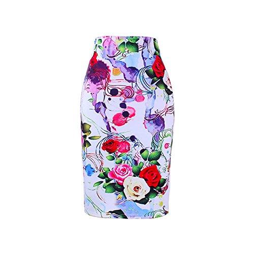 CaKo Blue Flower Print Women Pencil Skirts Lady Midi Saias Slim Bottoms 0022 L