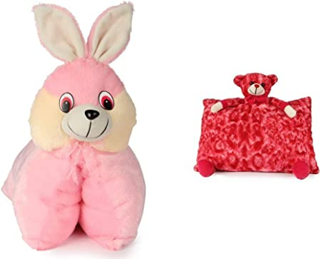 SRT Folding Bunny Pillow(40 cm) and Red Teddy Pillow( 40 cm) Set of 2