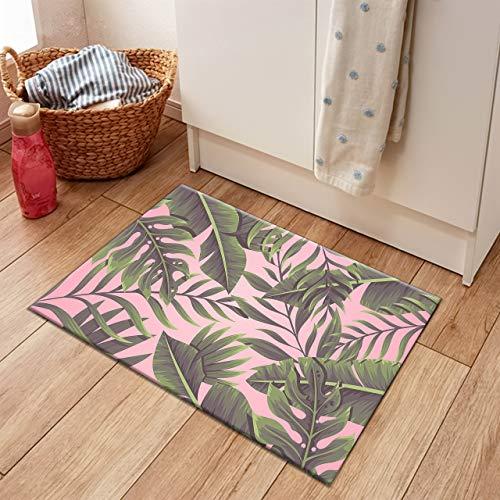 HVEST Palm Leaf Area Rug Monstera and Banana Leaves Carpet Non-Slip Doormat for Living Room Bedroom Kitchen Floor Mat,(1'4
