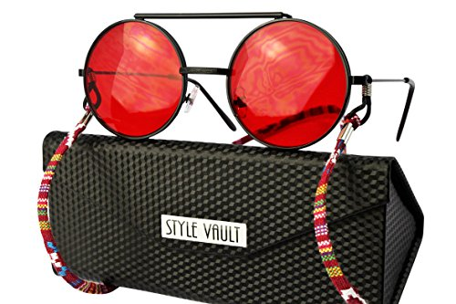 V170-fc Round Metal Flip up Django Hippie Sunglasses w neck string (B3393F - Glasses Red Hipster