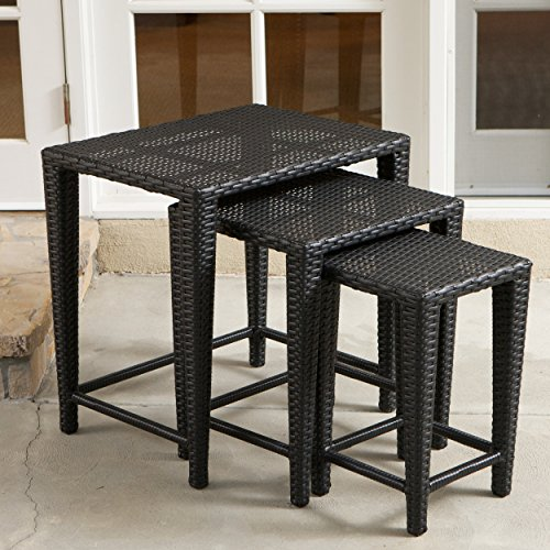 Nested Side Tables (Mayall Patio Furniture 3 Piece Black Nested Outdoor Wicker Side Table Set)