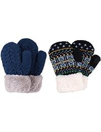 3 Pairs Kids' Sherpa Lined Knit Mittens Boys Girls Winter...